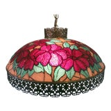 Image of Vintage Tiffany Style Victorian Art Glass Light Filigree Metal Hanging Swag Lamp For Sale