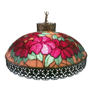 Vintage Tiffany Style Victorian Art Glass Light Filigree Metal Hanging Swag Lamp For Sale