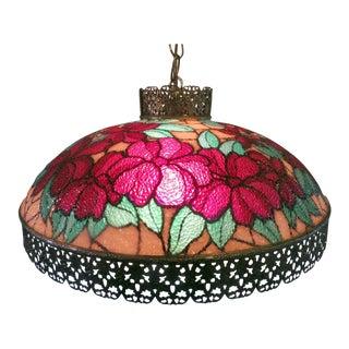 Vintage Tiffany Style Victorian Art Glass Light Filigree Metal Hanging Swag Lamp