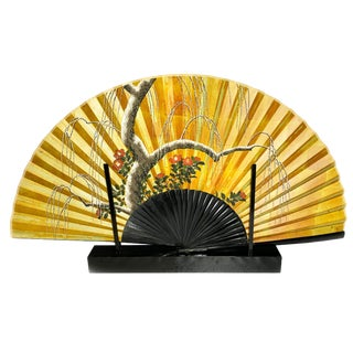Japanese Lacquer Fan With Display Stand For Sale