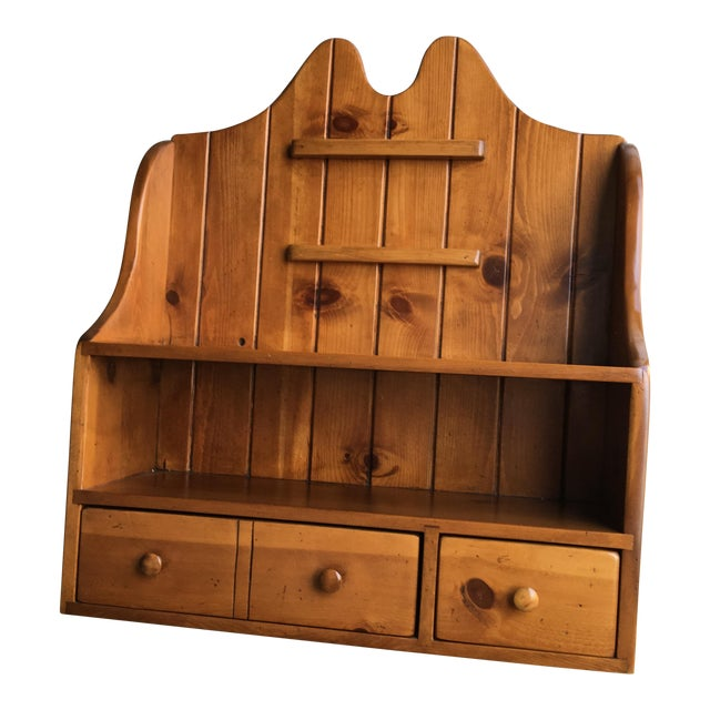 1950s Early American Pine Shelf Unit Telephone For Sale