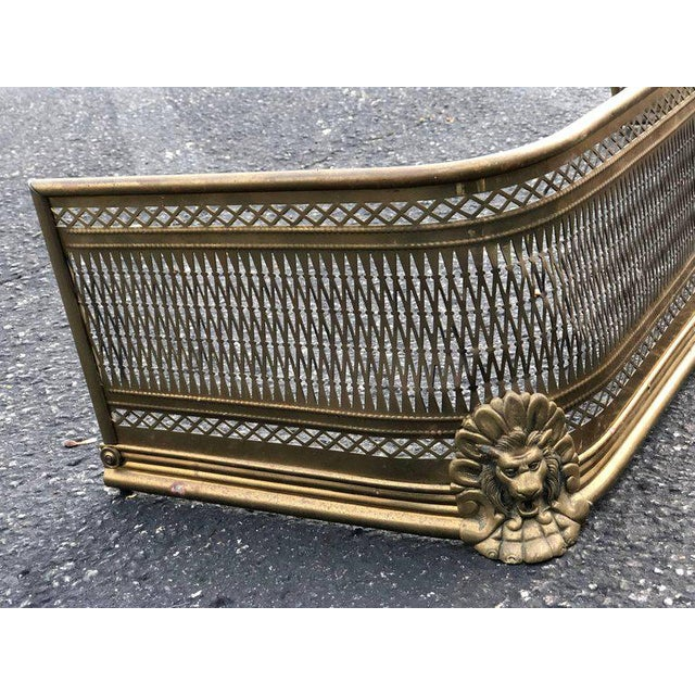 Pierced Brass Fireplace Fender With Lions For Sale In New York - Image 6 of 11