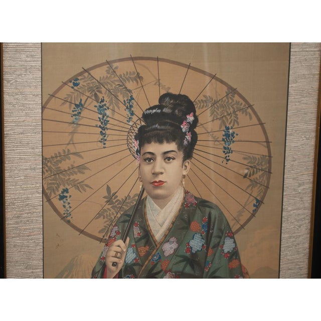 Asian 1850s Antique Japanese Silk Portrait of a Noble Lady Panel Painting For Sale - Image 3 of 11