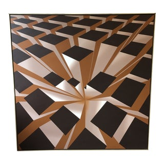 Vintage Artist Signed Geometric Op Art Acrylic on Canvas Monumental Wall Art- 5' X 5' For Sale
