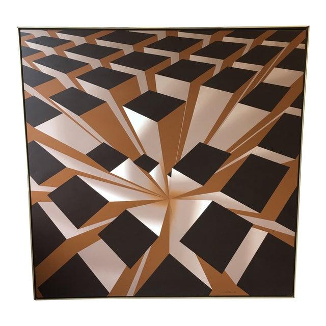 Vintage Artist Signed Geometric Op Art Acrylic on Canvas Monumental Wall Art- 5' X 5' For Sale