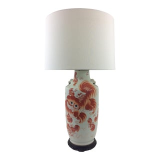 Chinese Export Orange and White Temple Vase Lamp For Sale