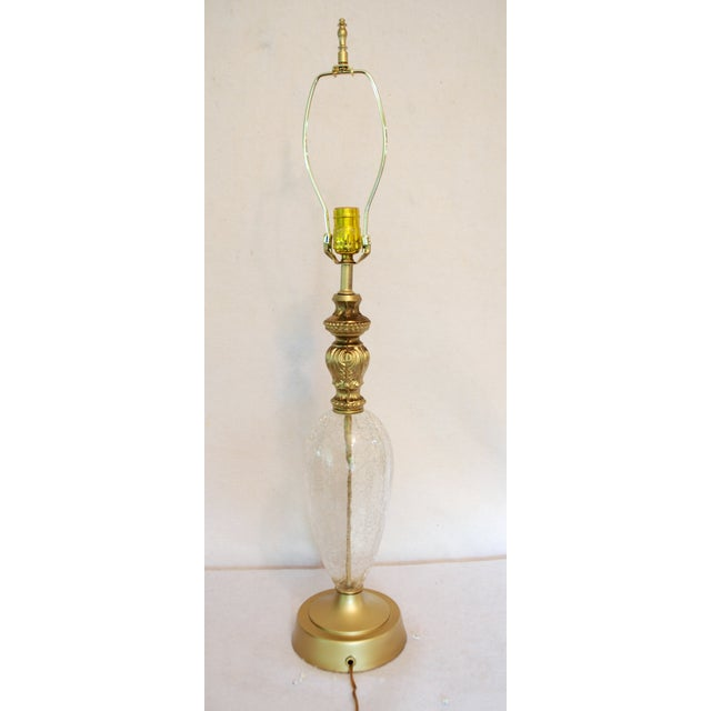 Vintage Crackle Glass Table Lamp With Red Shade - Image 5 of 7