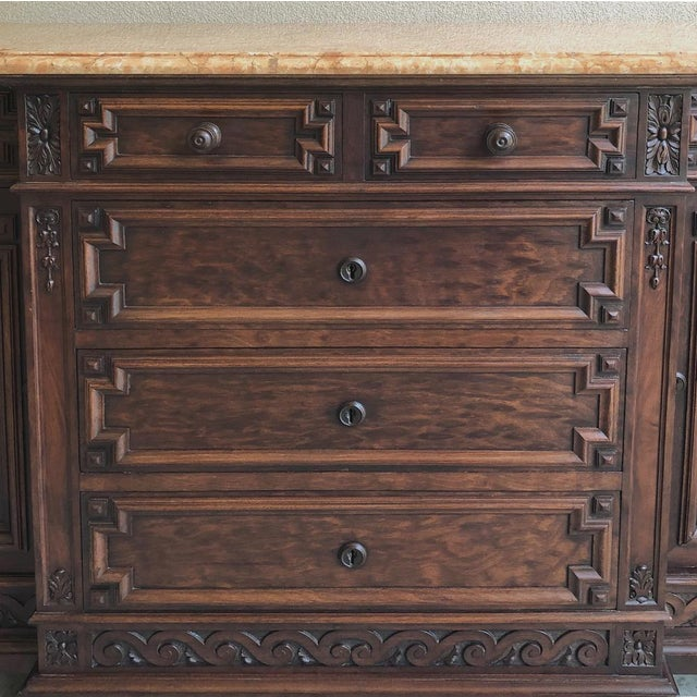 Red 19th Century French Louis XVI Mueche Mahogany Marble Top Dresser ~ Cabinet For Sale - Image 8 of 13