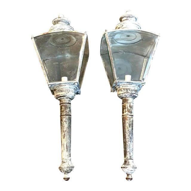 English Verdigrises' Brass Coach Lamp Sconces - a Pair For Sale