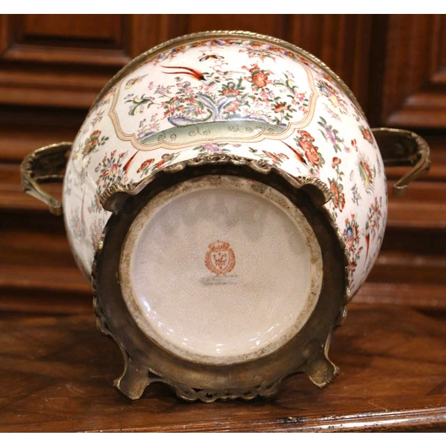 Metal Mid-Century Chinese Bronze and Painted Porcelain Planter With Butterfly Motifs For Sale - Image 7 of 10