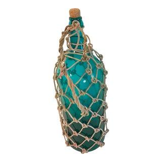 Vintage Rope Encased Blue Green Bottle For Sale