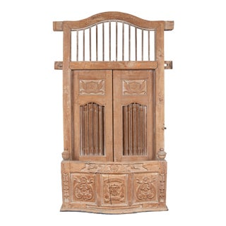 Large Natural Wood Bonnet Top Window Balcony with Hand Carved Foliage Motifs For Sale