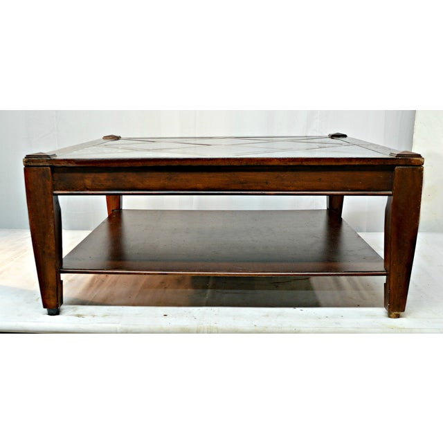 Vintage Solid Wood Coffee Table W/Marble Top