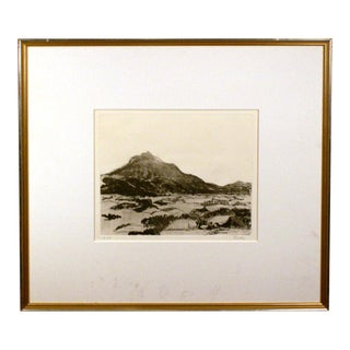 Vintage Mid-Century Georg Eisler Valley Landscape Artist Proof Signed Etching For Sale