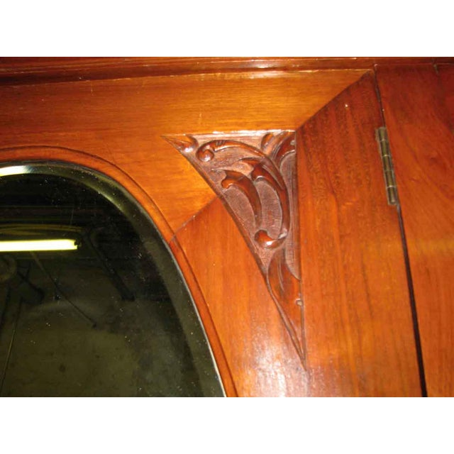 Brown Early American Carved Cherry Armoire With Beveled Mirror For Sale - Image 8 of 10