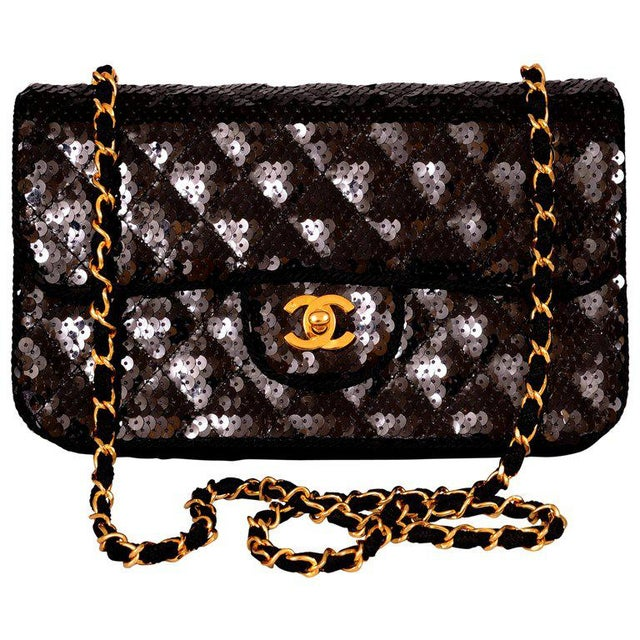 0b867cfb28eb Fabric Chanel Sparkling Black Sequin Quilted Bag With Chain Strap For Sale  - Image 7 of