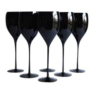 Black Wine Glasses, Set of 6 For Sale