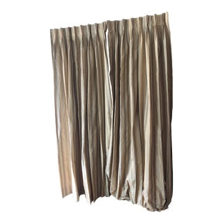 Custom Made Striped Drapes in Yellow - a Pair For Sale