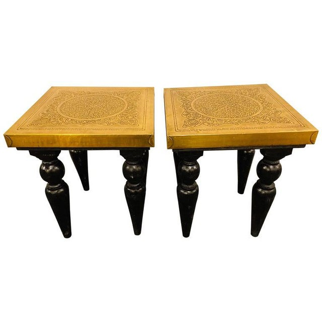 Moroccan End Tables in Fine Gold Brass & Carved Legs - a Pair For Sale - Image 13 of 13