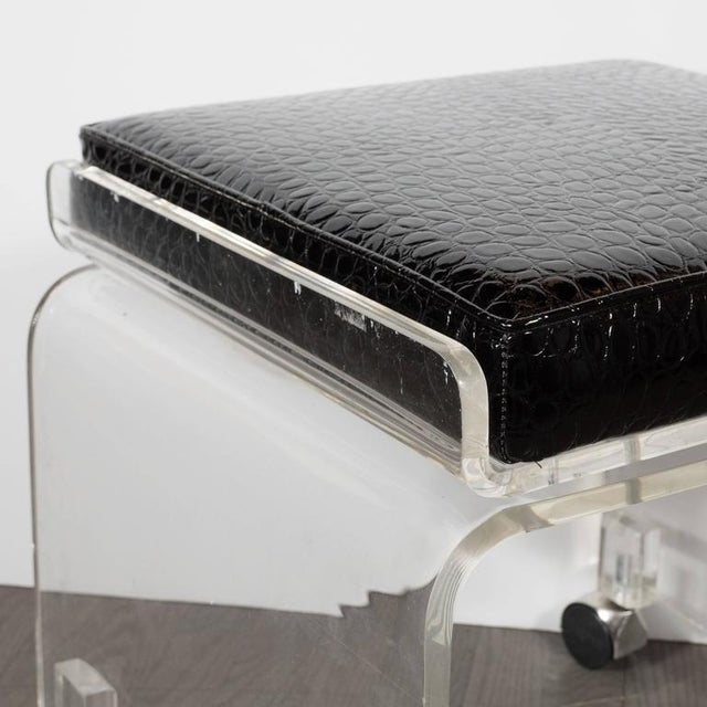 Mid-Century Lucite and Black Faux Crocodile Upholstery Swivel Stool or Bench For Sale - Image 4 of 10