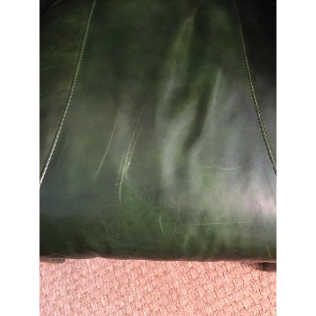 Emerald Green Moore & Giles Leather Tufted Armchair For Sale In Richmond - Image 6 of 7