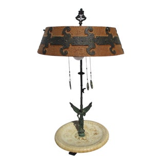 Grand Tour Roman Bronze and Marble Lamp For Sale