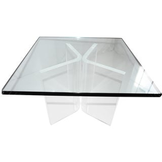 Mid-Century Modern Lucite & Glass Side Table For Sale