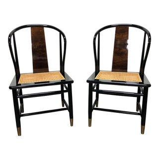 Henredon Asian Chinoiserie Black Lacquer Cane Seat Dining Chairs - a Pair For Sale