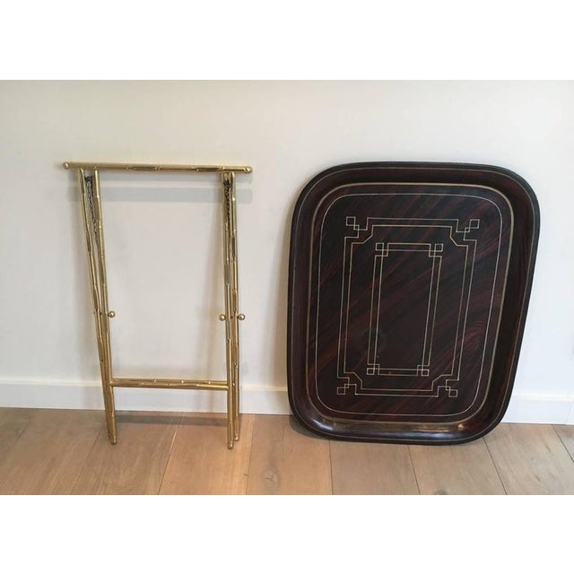 1950s French Brass Tray Table with a Lacquer and Gold Metal Top For Sale - Image 5 of 11
