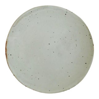White Boho Chic Speckled Eggshell Gloss Stoneware Cheese Plate | Serving Plate For Sale