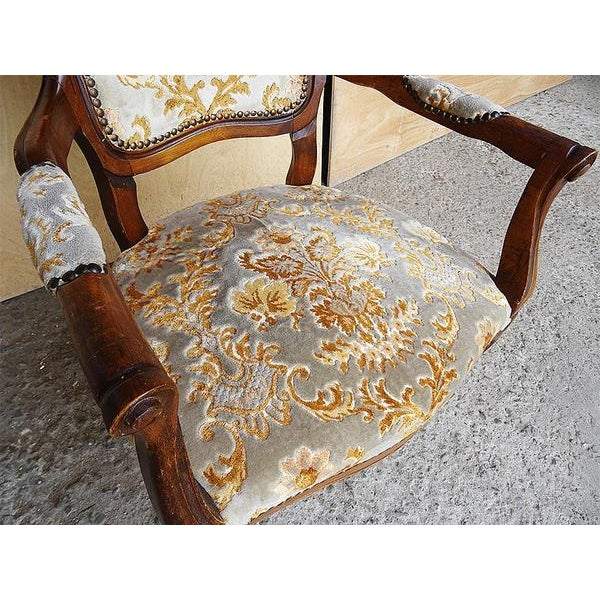 Orange Antique Elegant French Louis XV Style Original Floral Upholstery Walnut Armchair For Sale - Image 8 of 13