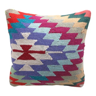 Turkish Handmade Kilim Pillow Cover - 16 in X 16in For Sale