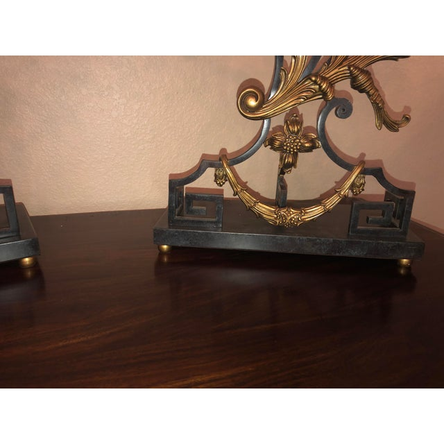 Bronze 18th Century Rococo Style Iron and Brass Candle Holders by Theodore Alexander - a Pair For Sale - Image 8 of 13