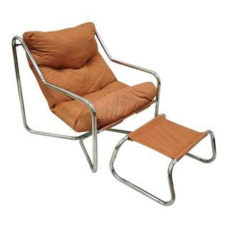 Vintage Mid Century Modern Tubular Chrome Sling Lounge Chair and Ottoman For Sale