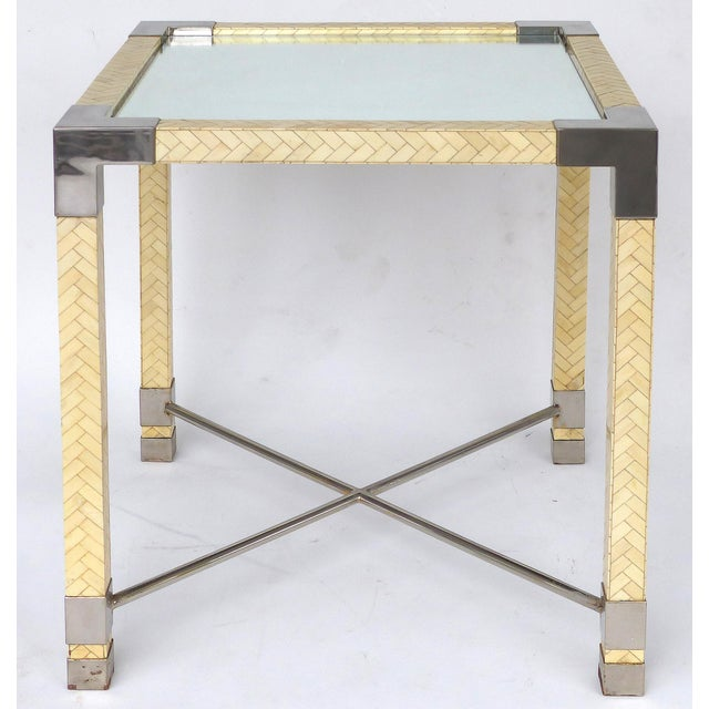 Karl Springer Style Tessellate Bone & Chrome Game Table For Sale - Image 10 of 10