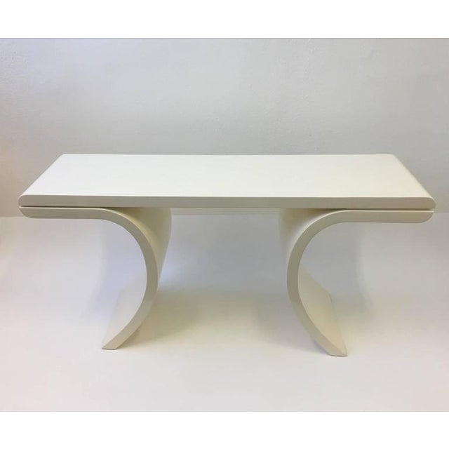 1980s High Gloss Lacquered Console Table in the Manner of Karl Springer For Sale - Image 5 of 8