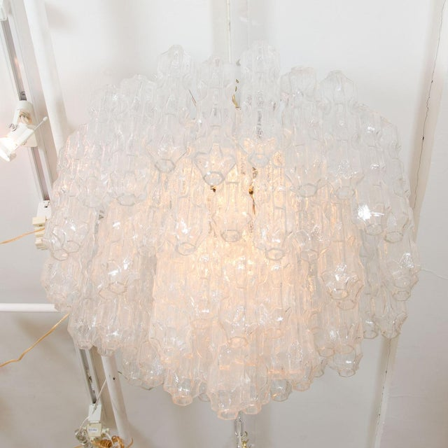 Contemporary Multitiered Chandelier Composed of Textured Glass Elements For Sale - Image 3 of 4
