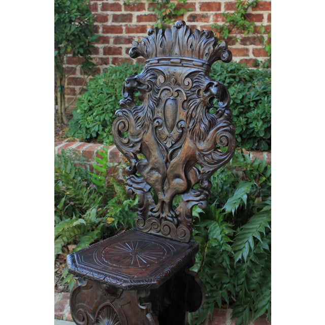Brown Mid 19th Century Antique Italian Carved Walnut Sgabello Chair For Sale - Image 8 of 13
