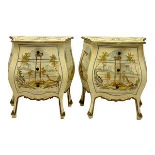 Italian Hand Painted Bombe Chests - a Pair For Sale