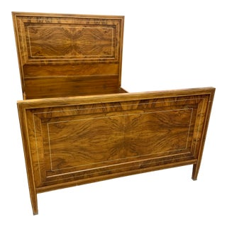 20th Century Burl Flame With Gold Inlay Full/Double Bed Frame For Sale