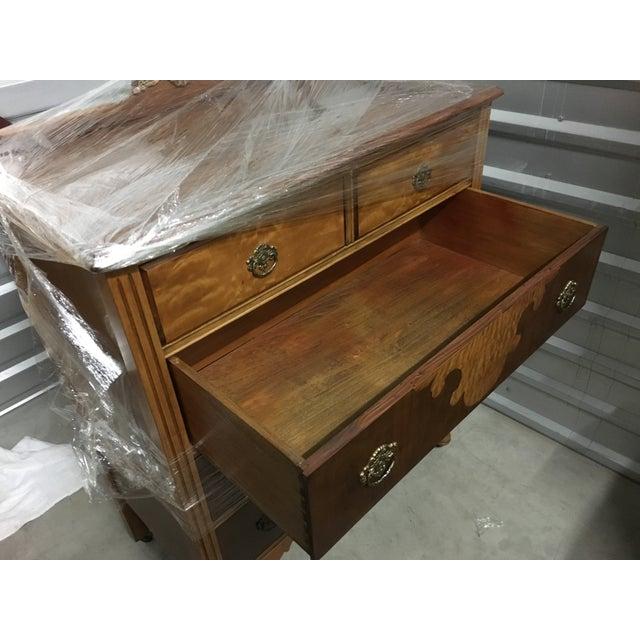 Vintage Maple Dresser with Walnut Veneers - Image 4 of 6