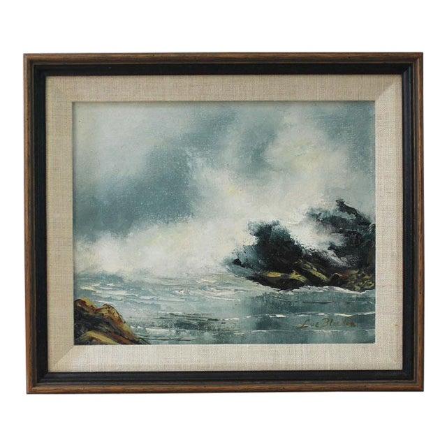 Vintage Mid-Century Modern Ocean Scene Oil Painting For Sale