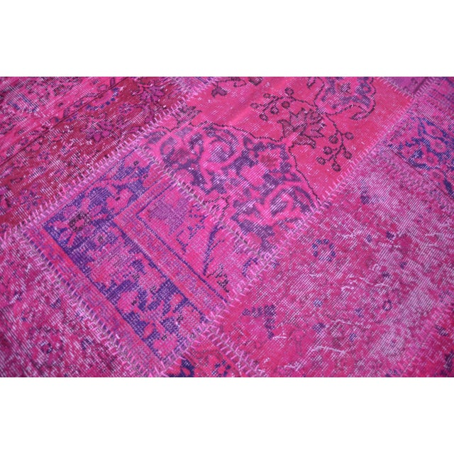 Textile Pink Overdyed Turkish Anatolian Patchwork Carpet - 7′1″ × 10′ For Sale - Image 7 of 11