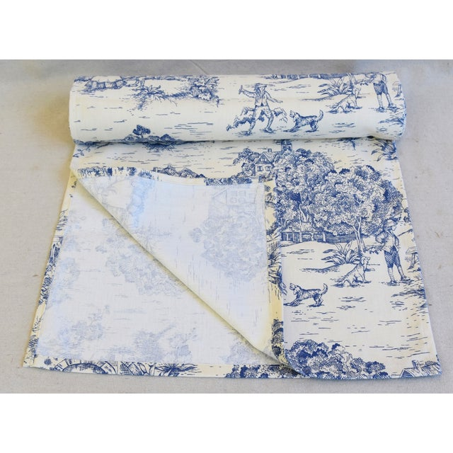 """English Traditional Blue & Cream French Farmhouse Country Toile Table Runner 106"""" Long For Sale - Image 3 of 8"""