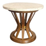 Image of 1950s Edward Wormley for Dunbar Travertine and Wood Sheaf of Wheat Side Table For Sale