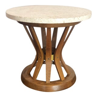 1950s Edward Wormley for Dunbar Travertine and Wood Sheaf of Wheat Side Table For Sale