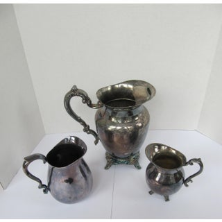 Vintage Shabby Chic Silver-Plate Pitchers-3 Pieces Preview
