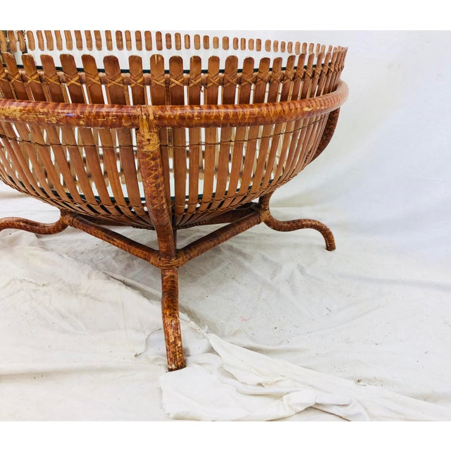 Late 20th Century Vintage Rattan & Glass Top Coffee Table For Sale - Image 5 of 12