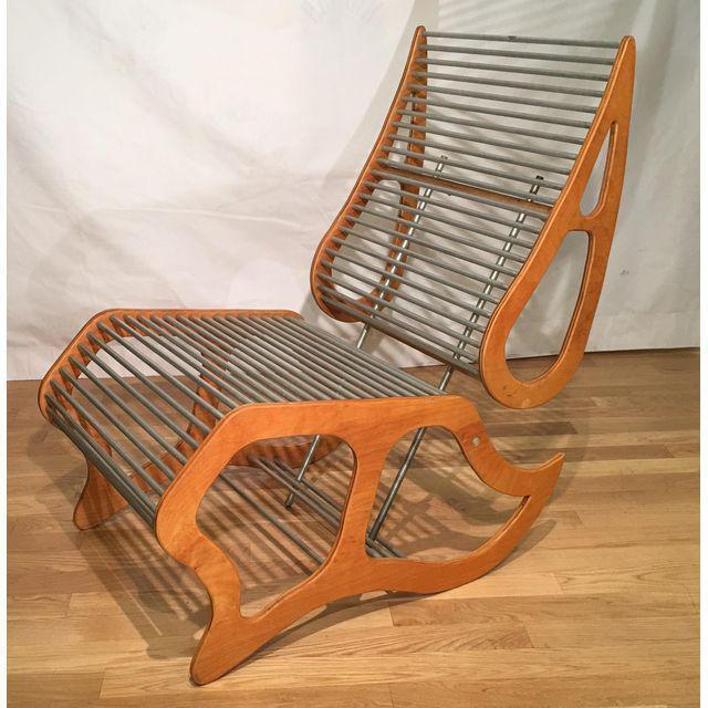 1950s Mid Century Danish Modern Designer Lounge Chair W Aluminum Rods For Sale - Image 5 of 7