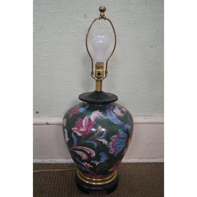 Traditional Frederick Cooper Floral Pottery Ginger Jar Urn Table Lamp For Sale - Image 3 of 10